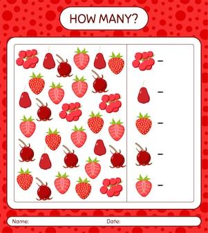 Ile liczy się gra jeżyna, jabłko różane, truskawka, ugni, truskawka. arkusz roboczy dla dzieci w wieku przedszkolnym, arkusz ćwiczeń dla dzieci, arkusz roboczy do druku