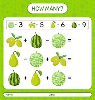 Ile liczy się jackfruit, limonka, kiwi, arbuz, oliwka. arkusz roboczy dla dzieci w wieku przedszkolnym, arkusz ćwiczeń dla dzieci, arkusz roboczy do druku