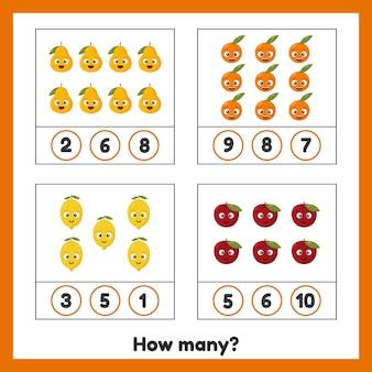 Ile owoców jabłko gruszka pomarańcza i cytryna arkusz dla dzieci przedszkole w wieku przedszkolnym i szkolnym nauka liczb gra licząca