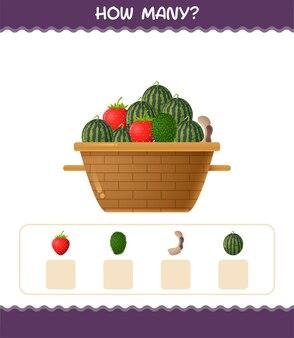 Ile owoców kreskówek. gra licząca. gra edukacyjna dla dzieci w wieku przedszkolnym i małych dzieci