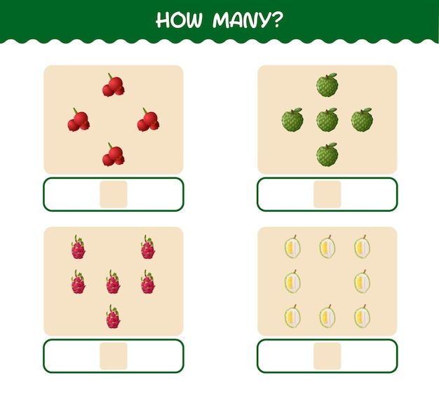 Ile owoców z kreskówek. gra liczenia. gra edukacyjna dla dzieci