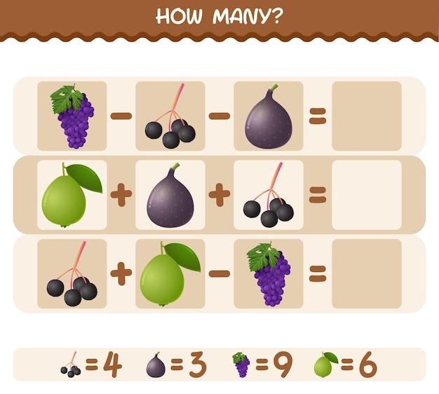 Ile owoców z kreskówek. gra liczenia. gra edukacyjna