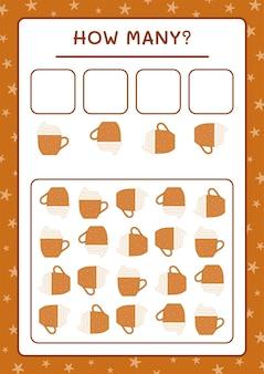 Ile świąteczny kubek, gra dla dzieci. ilustracja wektorowa, arkusz do druku