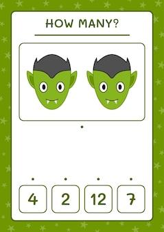 Ile vampire, gra dla dzieci. ilustracja wektorowa, arkusz do druku
