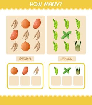 Ile warzyw kreskówek. gra licząca. gra edukacyjna dla dzieci w wieku przedszkolnym i małych dzieci