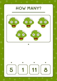 Ile zombie, gra dla dzieci. ilustracja wektorowa, arkusz do druku