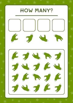 Ile zombie hand, gra dla dzieci. ilustracja wektorowa, arkusz do druku