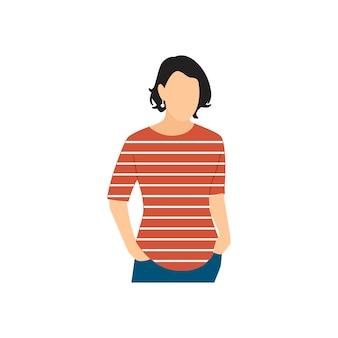 Illsutrated dojrzała kobieta stoi samotnie