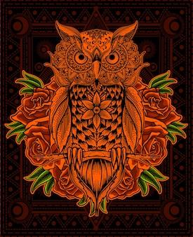 Illustrarion mandala ptak sowa z kwiatem róży