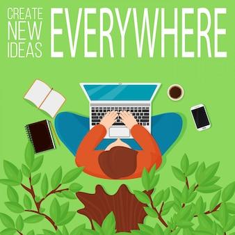 Illustrarion widok z góry człowieka siedzącego pod drzewem z komputerem i elementami miejsca pracy.