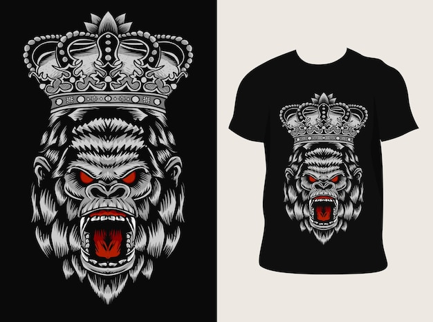 Illustration król goryl głowa ilustracja z projektem koszulki