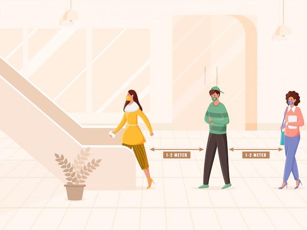 Illustrationf osób noszących maskę ochronną, zachowując odległość w kolejce, wchodząc po schodach lub schodach ruchomych, aby zapobiec koronawirusowi.