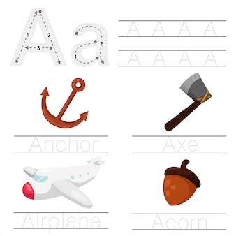 Illustrator arkusza roboczego dla dzieci czcionka
