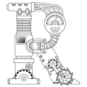 Illustratrion of steampunk kolorowanka dla dorosłych