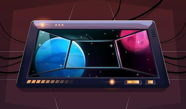 Iluminacja z widokiem na obce planety i gwiazdy