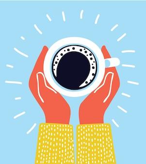 Ilustacja ludzkich rąk trzymających filiżankę kawy z pianką.