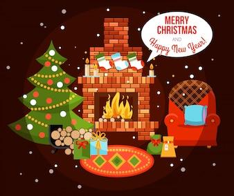 Ilustracja świąteczna kominek