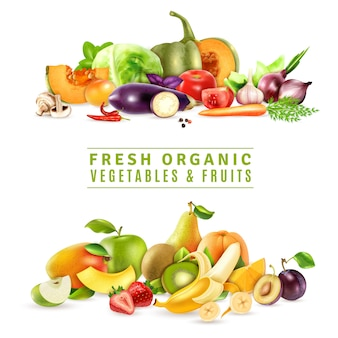 Ilustracja świeżych warzyw i owoców