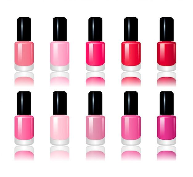 Ilustracja 10 butelek czerwony i różowy lakier do paznokci na białym tle
