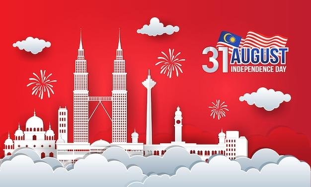Ilustracja 31 sierpnia obchody dnia niepodległości z panoramą miasta, flagą malezji i fajerwerkami w stylu cięcia papieru.