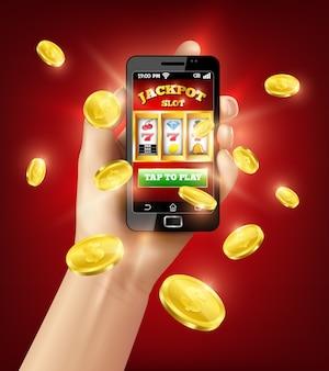Ilustracja 3d aplikacji mobilnej na automatach