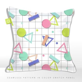 Ilustracja 3d bez szwu pastelowy wzór geometryczny kształtów na tle linii szachownicy z kolorowymi trójkątnymi kształtami i kropkami. styl retro lub vintage.
