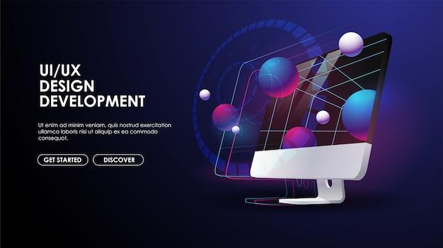 Ilustracja 3d monitora komputera. rozwój ui i ux, koncepcja inżynierii oprogramowania. kreatywny szablon dla sieci i druku.