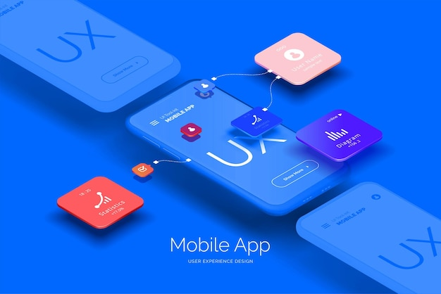 Ilustracja 3d projektowania aplikacji mobilnych