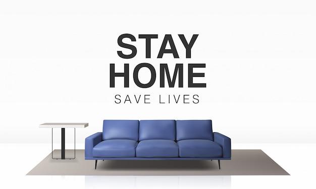 Ilustracja 3d tła szablonu projektu zostań w domu w kwarantannie, ochrona przed wirusami.