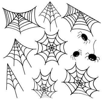 Ilustracja 8 pajęczych ikon wektorowych do drukowania ilustracji dla przerażających pająków na halloween