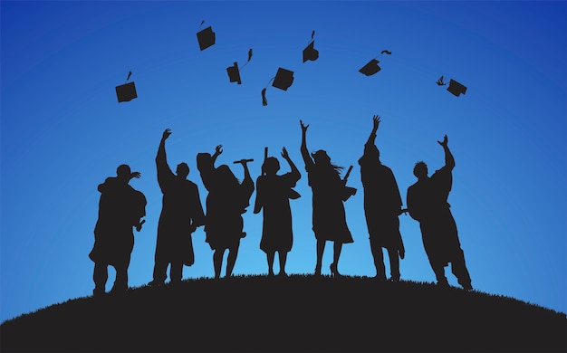 Ilustracja absolwentów uczelni