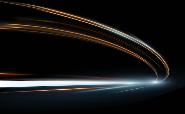 Ilustracja abstrakcyjna, nauka, futurystyczny, koncepcja technologii energii. cyfrowy obraz znaku strzałki, linie ze światłem, tło prędkości.