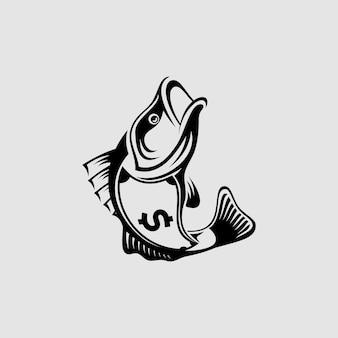 Ilustracja abstrakcyjna sylwetka ryby z jej ciałem jak znak pieniędzy projektowanie logo zwierzę biznes