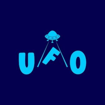 Ilustracja abstrakcyjne koło ufo samolot latający w górę logo szablon wektor technologii