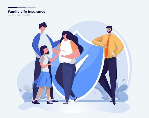 Ilustracja agenta ubezpieczeniowego z rodzinnym ubezpieczeniem na życie