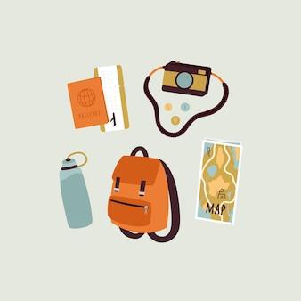 Ilustracja akcesoriów podróżnych