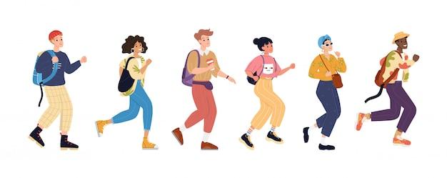 Ilustracja aktywne spacery młodych ludzi