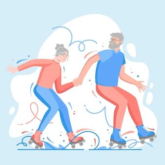 Ilustracja aktywnych osób starszych