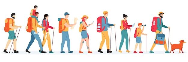 Ilustracja aktywnych turystów na świeżym powietrzu
