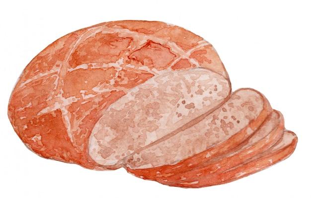 Ilustracja akwarela chleba brauenbrot