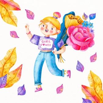Ilustracja akwarela dzień kobiet