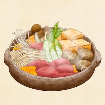 Ilustracja akwarela gorący garnek