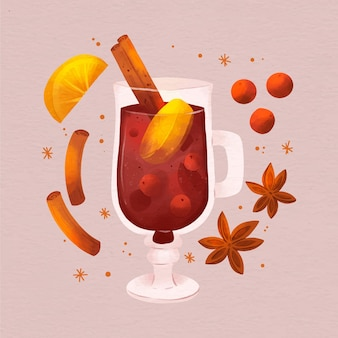 Ilustracja akwarela grzanego wina