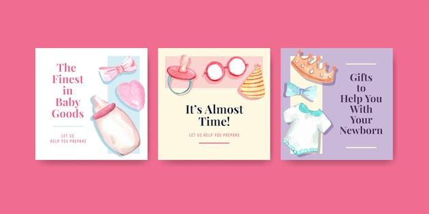 Ilustracja akwarela karty baby shower
