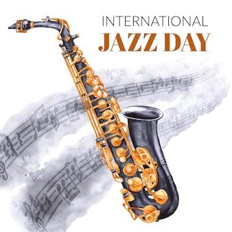 Ilustracja akwarela międzynarodowy dzień jazzu