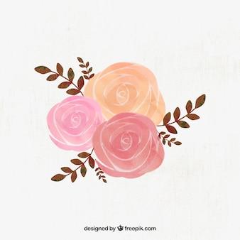 Ilustracja akwarela róż