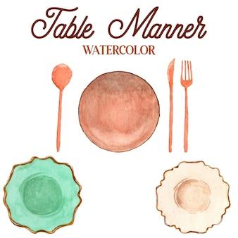 Ilustracja akwarela stół sposób