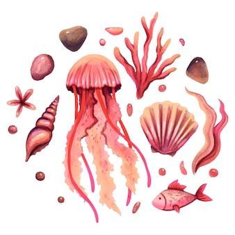 Ilustracja akwarela stworzeń morskich meduzy kamyczki rybne wodorosty muszle gwiazdy w kolorze czerwonym