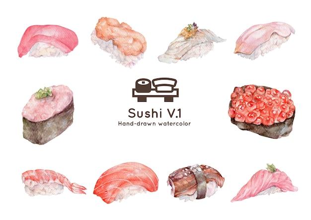 Ilustracja akwarela sushi