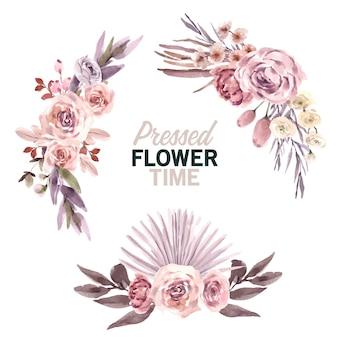 Ilustracja akwarela suszonych bukiet kwiatowy